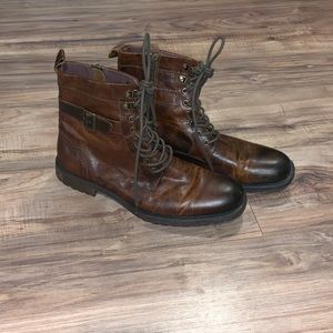 Aston Grey Leather Zipper Boots Size 11